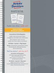 Avery Zweckform Notizio No. 7011 négyzethálós spirálfüzet A5-ös méretben, világosszürke színű karton borítóval (Avery 7011)
