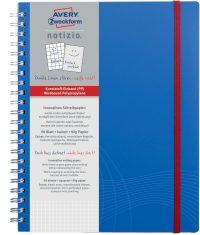 Avery Zweckform Notizio No. 7037 négyzethálós spirálfüzet A4-es méretben, kék színű műanyag borítóval (Avery 7037)