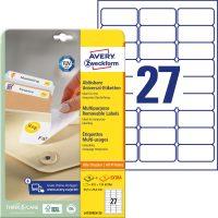 Avery Zweckform No. L4737REV-25 univerzális 63,5 x 29,6 mm méretű visszaszedhető, fehér öntapadó etikett címke A4-es íven - 810 címke / csomag - 30 ív / csomag (Avery L4737REV-25)