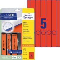 Avery Zweckform No. L4748-20 univerzális 38 x 297 mm méretű, piros színű öntapadó iratrendező címke A4-es íven - 100 címke / csomag - 20 ív / csomag (Avery L4748-20)