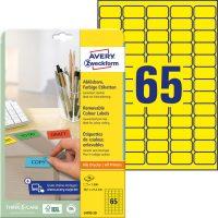 Avery Zweckform No. L4793-20 univerzális 38,1 x 21,2 mm méretű visszaszedhető, sárga öntapadó etikett címke A4-es íven - 1300 címke / csomag - 20 ív / csomag (Avery L4793-20)