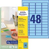 Avery Zweckform No. L6039-20 univerzális 45,7 x 21,2 mm méretű visszaszedhető, kék öntapadó etikett címke A4-es íven - 960 címke / csomag - 20 ív / csomag (Avery L6039-20)