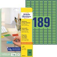 Avery Zweckform No. L6049-20 univerzális 25,4 x 10 mm méretű visszaszedhető, zöld öntapadó etikett címke A4-es íven - 3780 címke / csomag - 20 ív / csomag (Avery L6049-20)