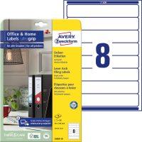 Avery Zweckform No. L6060-10 univerzális 34 x 192 mm méretű, fehér öntapadó iratrendező címke A4-es íven - 80 címke / csomag - 10 ív / csomag (Avery L6060-10)