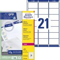 Avery Zweckform No. L7160-250 lézeres 63,5 x 38,1 mm méretű, fehér öntapadó etikett címke A4-es íven - 5250 címke / doboz - 250 ív / doboz (Avery L7160-250)
