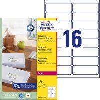 Avery Zweckform No. LR7162-100 lézeres, környezetbarát 99,1 x 33,9 mm méretű, natúr fehér öntapadó etikett címke A4-es íven - 1600 címke / doboz - 100 ív / doboz (Avery LR7162-100)