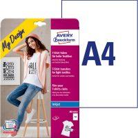 Avery Zweckform My Design MD1002 pólóra, textilre vasalható fólia, fehér és világos színű anyagokhoz - méret: 210 x 297 mm (A4) - 10 ív / csomag (Avery MD1002)