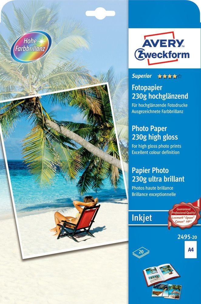Avery Zweckform No. 2495-20 tintasugaras 210 x 297 mm (A4) méretű, 230 g -os különleges minőségű magasfényű fotópapír - 20 ív / csomag (Avery 2495-20)