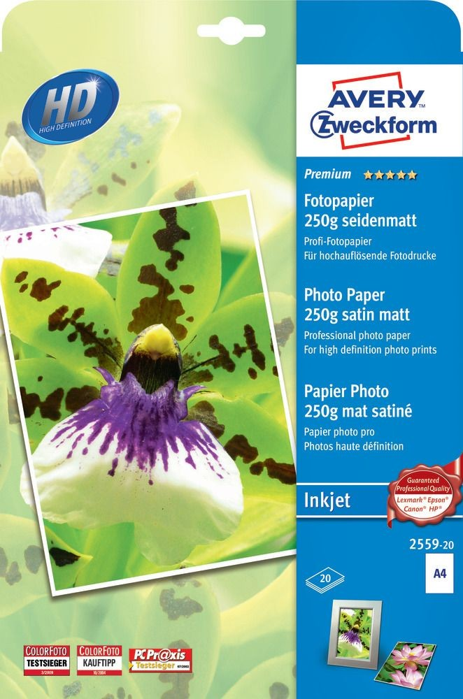 Avery Zweckform No. 2559-20 tintasugaras 210 x 297 mm (A4) méretű, 250 g -os prémium minőségű szatén-matt (selyemfényű) fotópapír - 20 ív / csomag (Avery 2559-20)