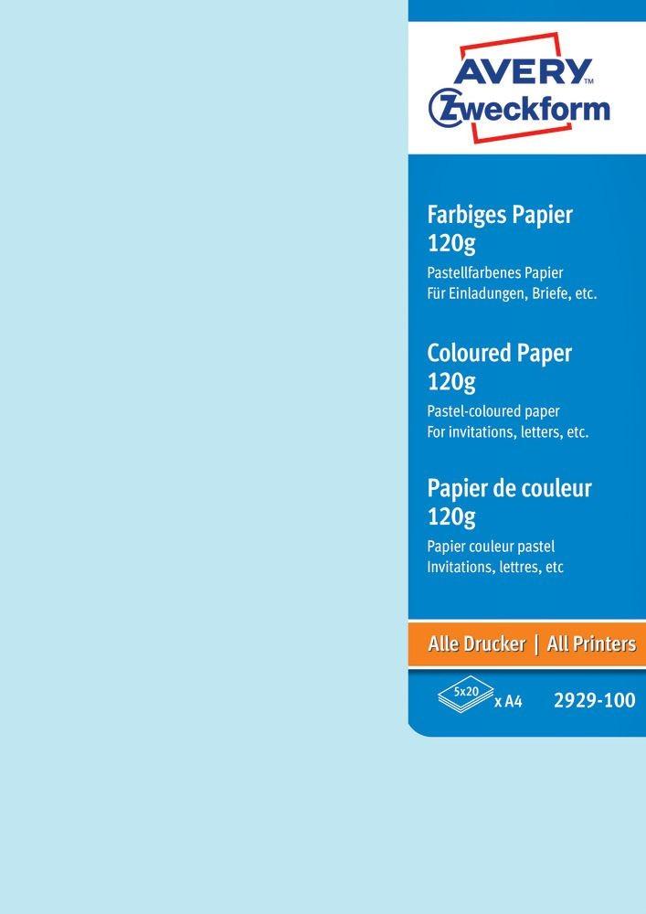 Avery Zweckform No. 2929-100 univerzális 210 x 297 mm (A4) méretű, 120 g -os vegyes színű (világoskék, citromsárga, menta, rózsaszín, halványlila) matt papír - 100 ív / csomag (Avery 2929-100)