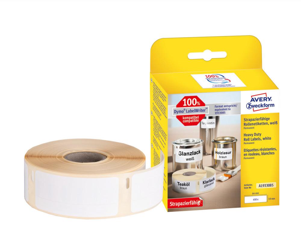 Avery Zweckform No. A1933085 fehér színű, 64 x 19 mm méretű öntapadó tekercses időjárásálló etikett címke, erős, tartós ragasztóval - doboz tartalma: 1 tekercs, 450 darab címke