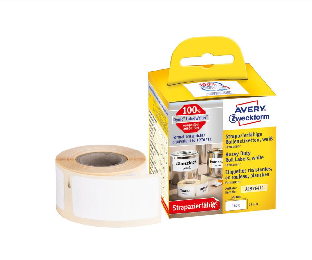 Avery Zweckform No. A1976411 fehér színű, 54 x 25 mm méretű öntapadó tekercses időjárásálló etikett címke, erős, tartós ragasztóval - doboz tartalma: 1 tekercs, 160 darab címke