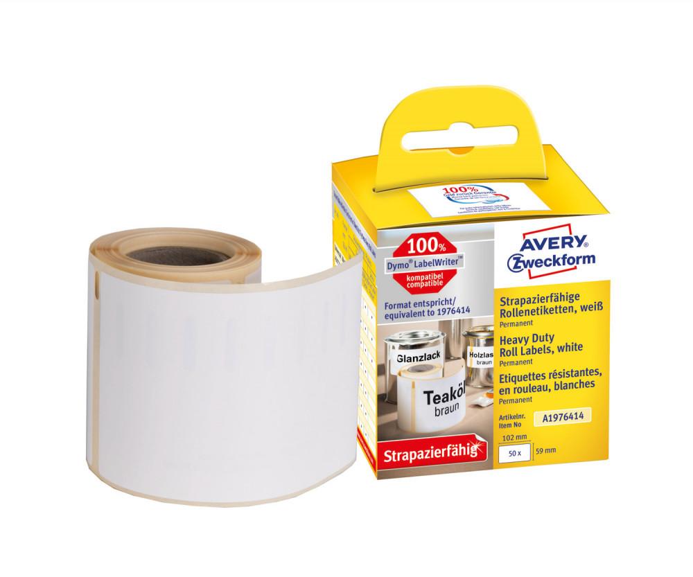 Avery Zweckform No. A1976414 fehér színű, 102 x 59 mm méretű öntapadó tekercses időjárásálló etikett címke, erős, tartós ragasztóval - doboz tartalma: 1 tekercs, 50 darab címke