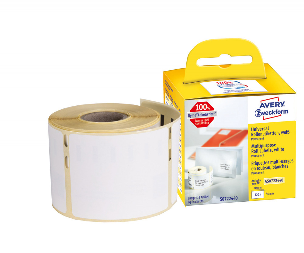 Avery Zweckform No. AS0722440 fehér színű, 70 x 54 mm méretű öntapadó tekercses etikett címke, permanens ragasztóval - doboz tartalma: 1 tekercs, 320 darab címke