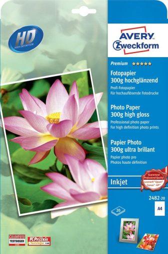 Avery Zweckform No. 2482-20 tintasugaras 210 x 297 mm (A4) méretű, 300 g -os prémium minőségű magasfényű fotópapír - 20 ív / csomag (Avery 2482-20)