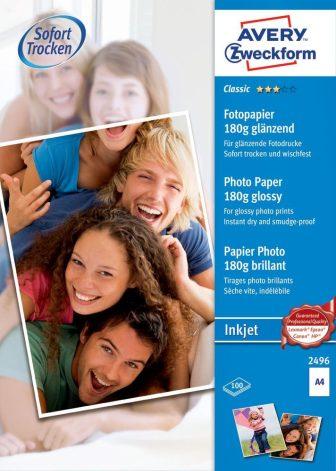 Avery Zweckform No. 2496 tintasugaras 210 x 297 mm (A4) méretű, 180 g -os hagyományos fényes fotópapír - 100 ív / doboz (Avery 2496)