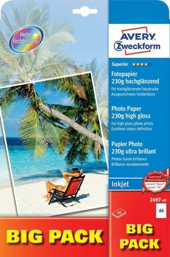 Avery Zweckform No. 2497-40 tintasugaras 210 x 297 mm (A4) méretű, 230 g -os különleges minőségű magasfényű fotópapír - 40 ív / csomag (Avery 2497-40)