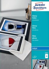 Avery Zweckform No. 2507 fényes fehér öntapadó fólia tintasugaras nyomtatóhoz (vastagság: 0,20 mm, méret: A4, 50 ív / csomag)(Avery 2507)