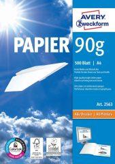 Avery Zweckform No. 2563 univerzális 210 x 297 mm (A4) méretű, 90 g -os különleges minőségű fehér matt papír - 500 ív / csomag (Avery 2563)