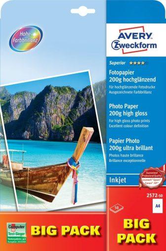 Avery Zweckform No. 2572-50 tintasugaras 210 x 297 mm (A4) méretű, 200 g -os különleges minőségű magasfényű fotópapír - 50 ív / csomag (Avery 2572-50)