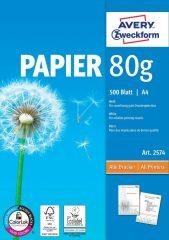 Avery Zweckform No. 2574 univerzális 210 x 297 mm (A4) méretű, 80 g -os különleges minőségű fehér matt irodai papír - 500 ív / csomag (Avery 2574)