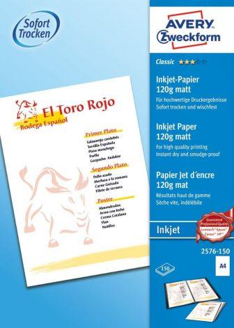Avery Zweckform No. 2576-150 tintasugaras 210 x 297 mm (A4) méretű, 120 g -os hagyományos matt nagyfelbontású papír - 150 ív / csomag (Avery 2576-150)