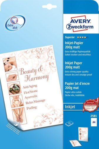 Avery Zweckform No. 2581 tintasugaras 210 x 297 mm (A4) méretű, 200 g -os különleges minőségű matt nagyfelbontású papír - 25 ív / csomag (Avery 2581)