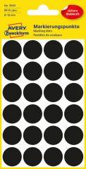 Avery Zweckform No. 3003 fekete színű, 18 mm átmérőjű öntapadó jelölő címke (jelölő pötty, jelölő pont) - 96 címke / csomag - 4 ív / csomag (Avery 3003)