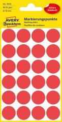 Avery Zweckform No. 3004 piros színű, 18 mm átmérőjű öntapadó jelölő címke (jelölő pötty, jelölő pont) - 96 címke / csomag - 4 ív / csomag (Avery 3004)