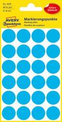 Avery Zweckform No. 3005 kék színű, 18 mm átmérőjű öntapadó jelölő címke (jelölő pötty, jelölő pont) - 96 címke / csomag - 4 ív / csomag (Avery 3005)