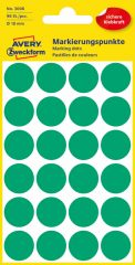 Avery Zweckform No. 3006 zöld színű, 18 mm átmérőjű öntapadó jelölő címke (jelölő pötty, jelölő pont) - 96 címke / csomag - 4 ív / csomag (Avery 3006)