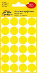 Avery Zweckform No. 3007 sárga színű, 18 mm átmérőjű öntapadó jelölő címke (jelölő pötty, jelölő pont) - 96 címke / csomag - 4 ív / csomag (Avery 3007)