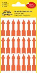 Avery Zweckform No. 3008 neon narancssárga színű, 39 x 9 mm méretű, nyíl formájú öntapadós jelölő címke (jelölő nyíl) - 63 címke / csomag - 3 ív / csomag (Avery 3008)