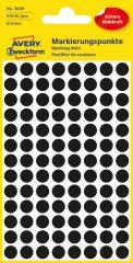 Avery Zweckform No. 3009 fekete színű, 8 mm átmérőjű öntapadó jelölő címke (jelölő pötty, jelölő pont) - 416 címke / csomag - 4 ív / csomag (Avery 3009)