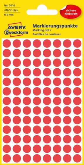 Avery Zweckform No. 3010 piros színű, 8 mm átmérőjű öntapadó jelölő címke (jelölő pötty, jelölő pont) - 416 címke / csomag - 4 ív / csomag (Avery 3010)