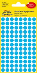 Avery Zweckform No. 3011 kék színű, 8 mm átmérőjű öntapadó jelölő címke (jelölő pötty, jelölő pont) - 416 címke / csomag - 4 ív / csomag (Avery 3011)