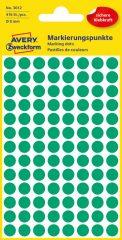 Avery Zweckform No. 3012 zöld színű, 8 mm átmérőjű öntapadó jelölő címke (jelölő pötty, jelölő pont) - 416 címke / csomag - 4 ív / csomag (Avery 3012)