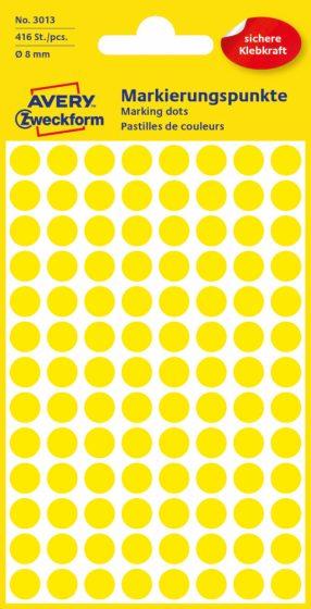Avery Zweckform No. 3013 sárga színű, 8 mm átmérőjű öntapadó jelölő címke (jelölő pötty, jelölő pont) - 416 címke / csomag - 4 ív / csomag (Avery 3013)