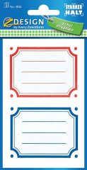 Avery Zweckform Z-Design No. 3026 öntapadó füzet matrica - piros, kék, zöld, sárga kerettel - kiszerelés: 3 ív / csomag (Avery Z-Design 3026)