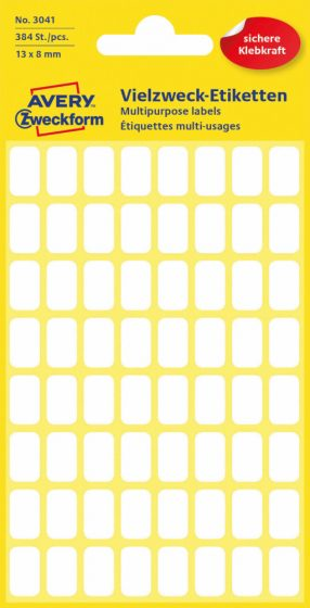 Avery Zweckform No. 3041 kézzel írható 13 x 8 mm méretű, fehér színű, öntapadó etikett címke általános felhasználásra - 384 címke / csomag (Avery 3041)