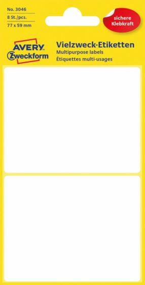 Avery Zweckform No. 3046 kézzel írható 77 x 59 mm méretű, fehér színű, öntapadó etikett címke általános felhasználásra - 8 címke / csomag (Avery 3046)
