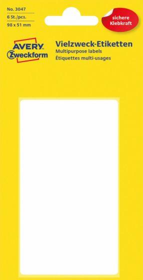 Avery Zweckform No. 3047 kézzel írható 98 x 51 mm méretű, fehér színű, öntapadó etikett címke általános felhasználásra - 6 címke / csomag (Avery 3047)