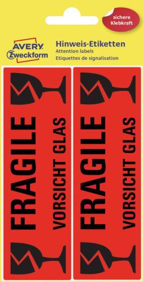 """Avery Zweckform No. 3050 figyelemfelhívó 119 x 38 mm méretű, neon piros színű, öntapadó előre megnyomtatott: """"Fragile"""" felirattal - 10 címke / csomag - 5 ív / csomag (Avery 3050)"""