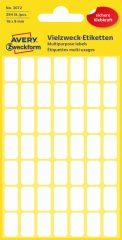 Avery Zweckform No. 3072 kézzel írható 16 x 9 mm méretű, fehér színű, öntapadó etikett címke általános felhasználásra - 294 címke / csomag (Avery 3072)