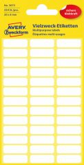 Avery Zweckform No. 3073 kézzel írható 20 x 8 mm méretű, fehér színű, öntapadó etikett címke általános felhasználásra - 234 címke / csomag (Avery 3073)