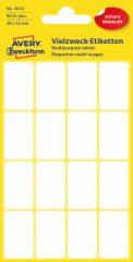 Avery Zweckform No. 3074 kézzel írható 29 x 18 mm méretű, fehér színű, öntapadó etikett címke általános felhasználásra - 96 címke / csomag (Avery 3074)