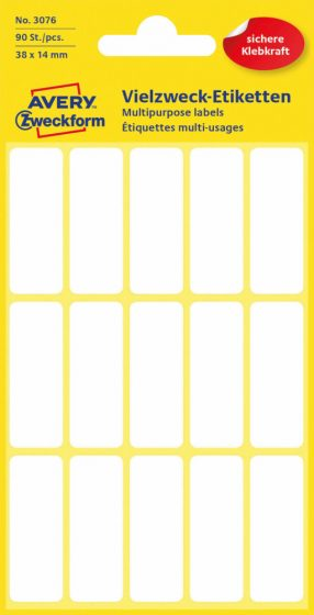 Avery Zweckform No. 3076 kézzel írható 38 x 14 mm méretű, fehér színű, öntapadó etikett címke általános felhasználásra - 90 címke / csomag (Avery 3076)