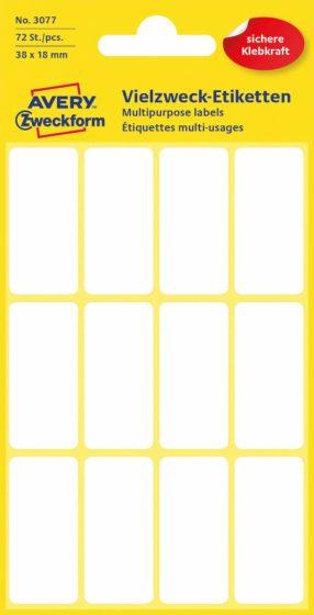 Avery Zweckform No. 3077 kézzel írható 38 x 18 mm méretű, fehér színű, öntapadó etikett címke általános felhasználásra - 72 címke / csomag (Avery 3077)