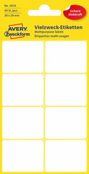 Avery Zweckform No. 3078 kézzel írható 38 x 29 mm méretű, fehér színű, öntapadó etikett címke általános felhasználásra - 40 címke / csomag (Avery 3078)