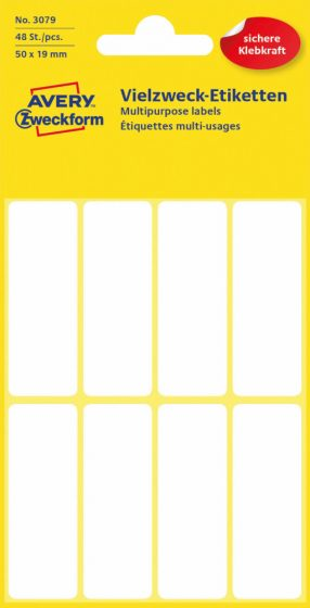 Avery Zweckform No. 3079 kézzel írható 50 x 19 mm méretű, fehér színű, öntapadó etikett címke általános felhasználásra - 48 címke / csomag (Avery 3079)